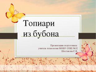 Презентацию подготовила учитель технологии МОБУ СОШ №32 Шестакова С.В. Топиа