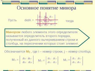 Основное понятие минора а11 а12 а13 a21 а22 а23 а31 а32 а33 Пусть detA = Мино
