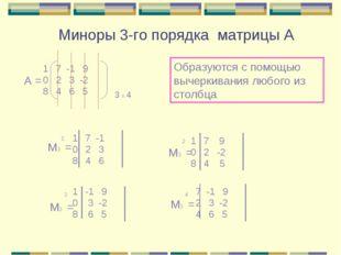 Миноры 3-го порядка матрицы А 7 -1 9 0 2 3 -2 8 4 6 5 А = 3 х 4 Образуются с