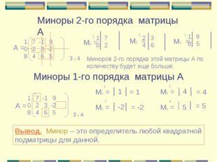 Миноры 2-го порядка матрицы А Миноры 1-го порядка матрицы А 7 -1 9 0 2 3 -2 8