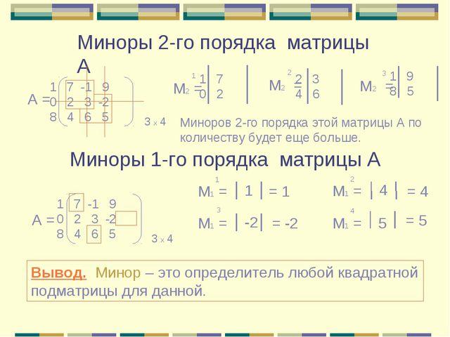 Миноры 2-го порядка матрицы А Миноры 1-го порядка матрицы А 7 -1 9 0 2 3 -2 8...