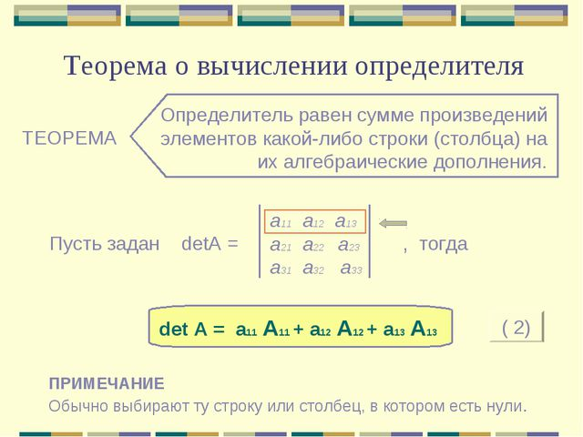 Теорема о вычислении определителя ТЕОРЕМА Определитель равен сумме произведен...