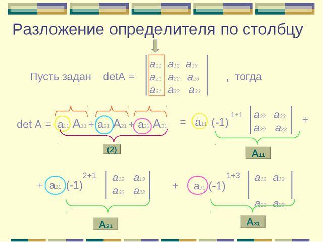 Разложение определителя по столбцу а11 а12 а13 a21 а22 а23 а31 а32 а33 Пусть...