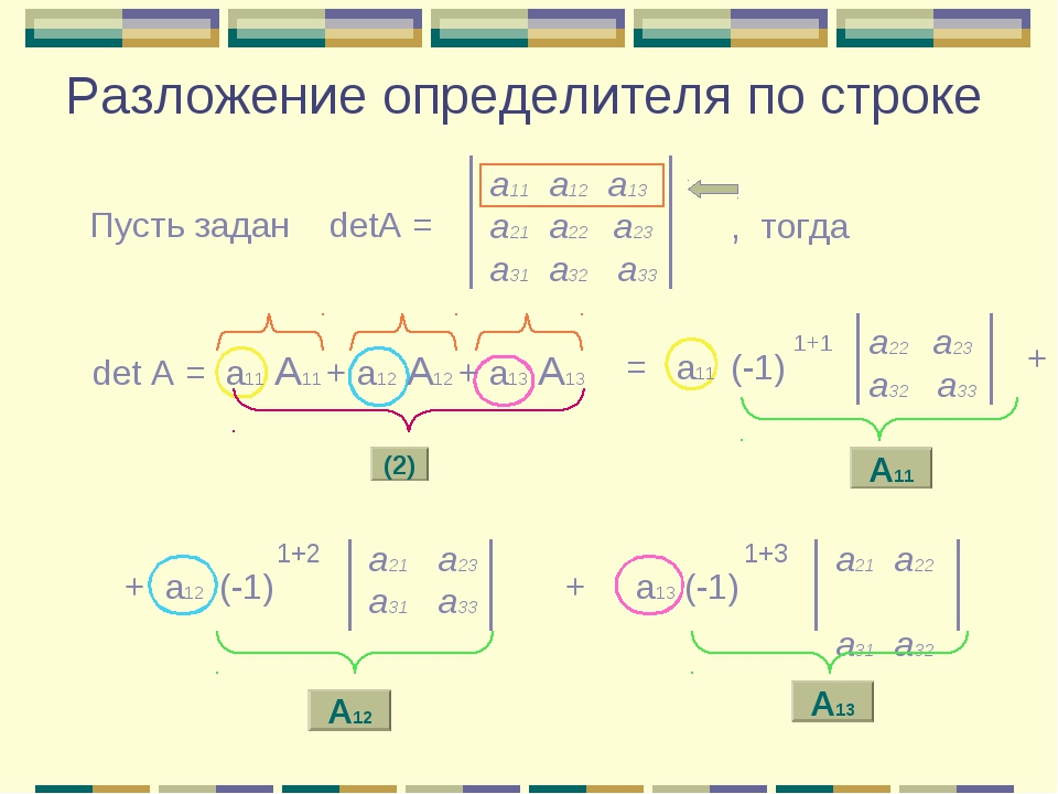 Разложение определителя по строке а11 а12 а13 a21 а22 а23 а31 а32 а33 Пусть з...