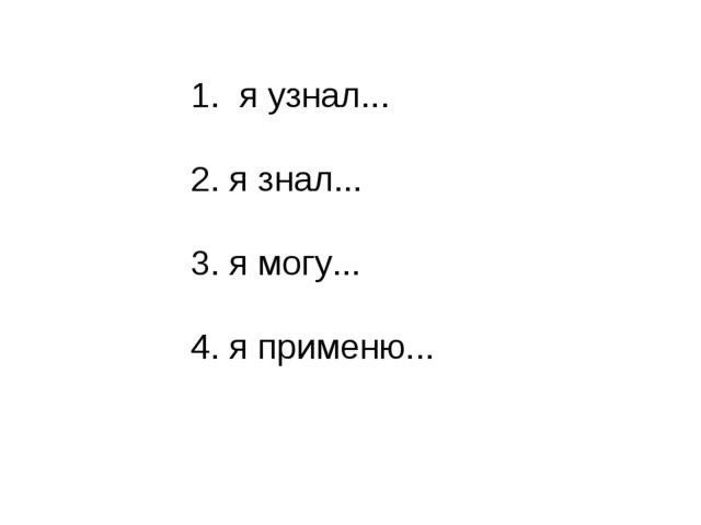1. я узнал... 2. я знал... 3. я могу... 4. я применю...