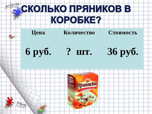 Цена Количество Стоимость 6 руб. ? шт. 36 руб.