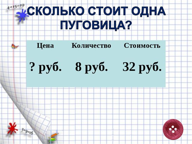 Цена Количество Стоимость 32 руб. 8 руб. ? руб.