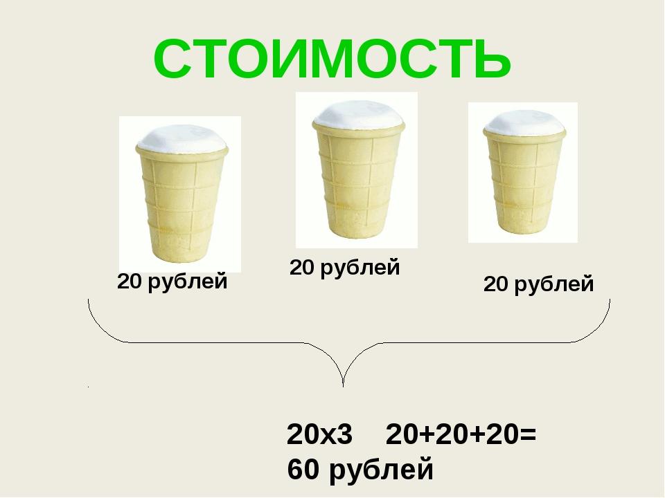 СТОИМОСТЬ 20 рублей 20 рублей 20 рублей 20х3 20+20+20= 60 рублей