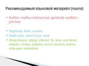Nutrition, healthy=nutritious food, genetically modified = junk food Vegetari