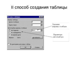 II способ создания таблицы