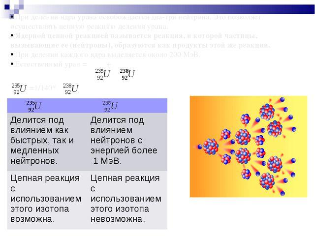 При делении ядра урана освобождается два-три нейтрона. Это позволяет осущест...