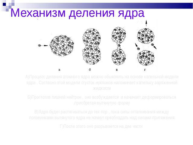 Механизм деления ядра А)Процесс деления атомного ядра можно объяснить на осно...