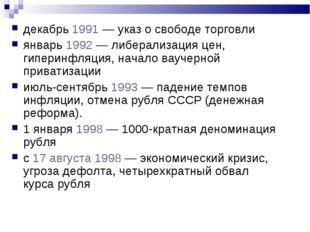 декабрь 1991 — указ о свободе торговли январь 1992 — либерализация цен, гипер