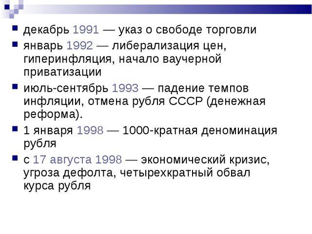 декабрь 1991 — указ о свободе торговли январь 1992 — либерализация цен, гипер...