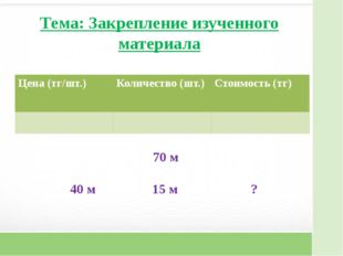 Тема: Закрепление изученного материала 70 м 40 м 15 м ? Цена (тг/шт