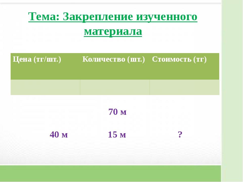 Тема: Закрепление изученного материала 70 м 40 м 15 м ? Цена (тг/шт...