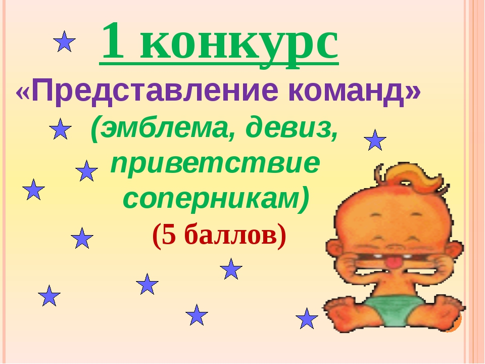 1 конкурс «Представление команд» (эмблема, девиз, приветствие соперникам) (5...