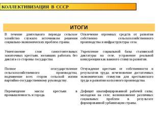 КОЛЛЕКТИВИЗАЦИЯ В СССР ИТОГИ В течение длительного периода сельское хозяйств