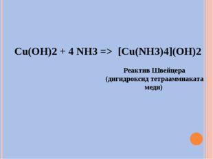 Cu(OH)2 + 4 NH3 => [Cu(NH3)4](OH)2 Реактив Швейцера (дигидроксид тетрааммиака