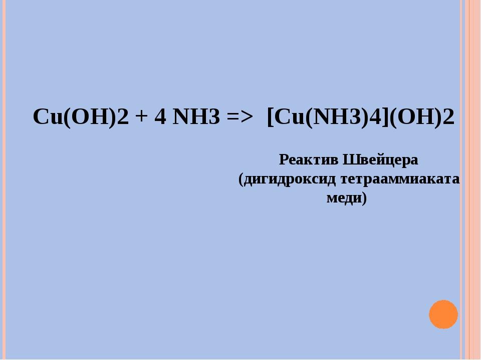 Cu(OH)2 + 4 NH3 => [Cu(NH3)4](OH)2 Реактив Швейцера (дигидроксид тетрааммиака...