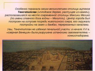 Особенно поражала своим великолепием столица ацтеков Теночтитлан («плодовое д