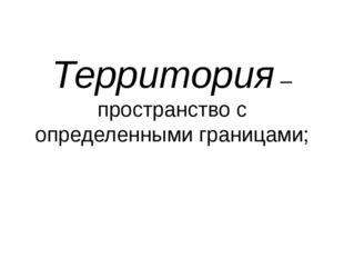 Территория – пространство с определенными границами;