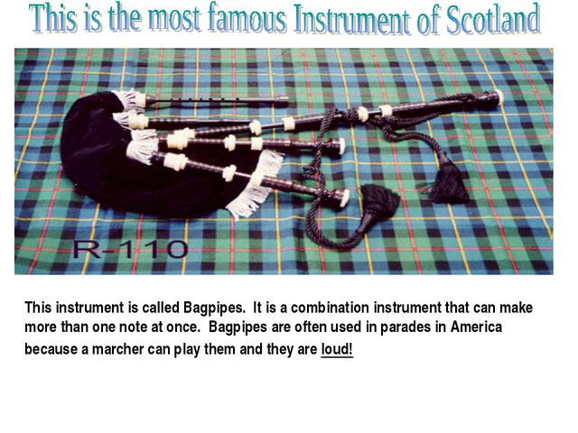 This instrument is called Bagpipes. It is a combination instrument that can m...