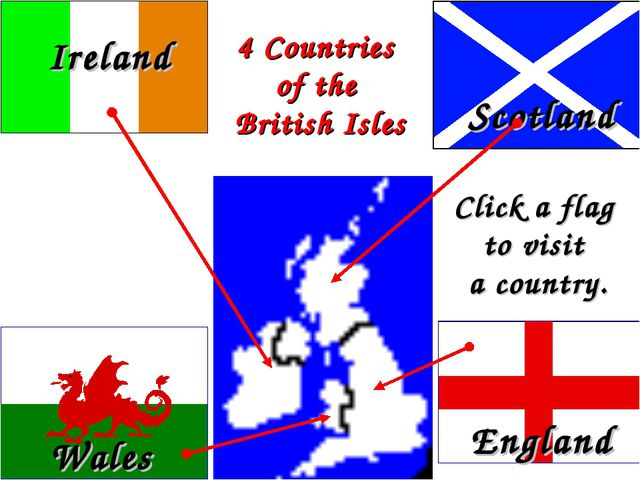 England Wales Scotland 4 Countries of the British Isles Click a flag to visit...