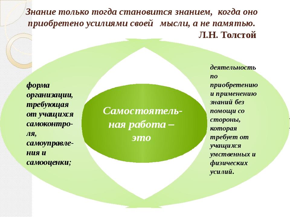 Знание только тогда становится знанием, когда оно приобретено усилиями своей...