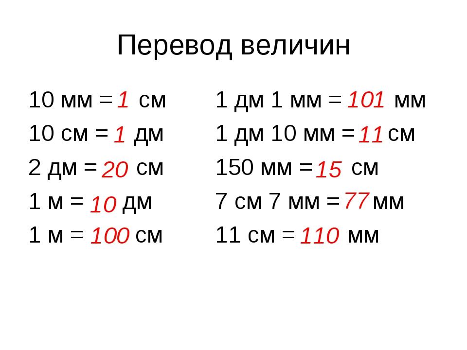 Перевод величин 10 мм = см1 дм 1 мм = мм 10 см = дм1 дм 10 мм = см 2 дм =...