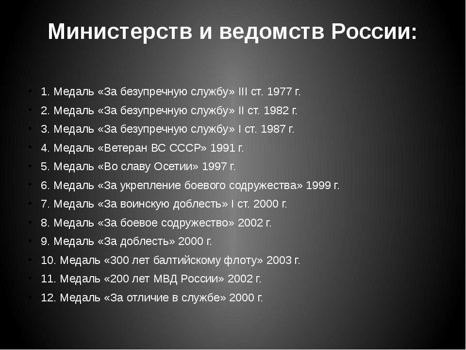 Министерств и ведомств России: 1. Медаль «За безупречную службу» III ст. 197...