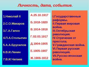 Личность, дата, событие. 1.Николай II 2.С.О.Макаров 3.Г.А.Гапон 4.П.А.Столыпи