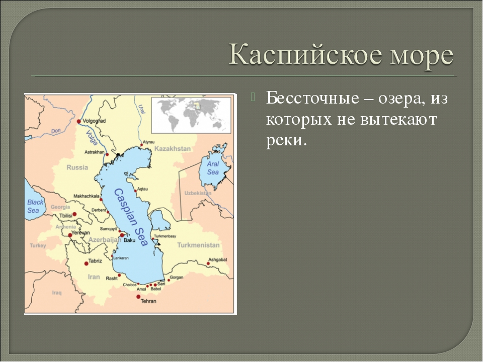 Бессточные – озера, из которых не вытекают реки.