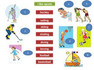 I like sports skating diving boxing football basketball skiing sailing hockey