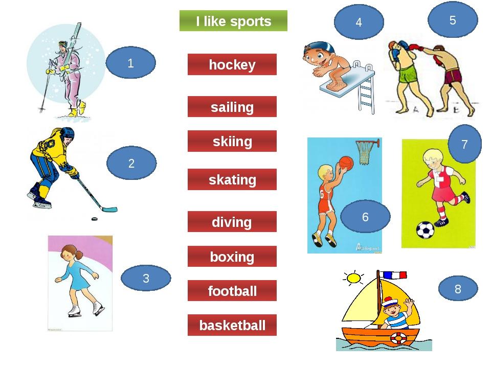 I like sports skating diving boxing football basketball skiing sailing hockey...