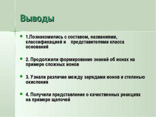 Выводы 1.Познакомились с составом, названиями, классификацией и представителя