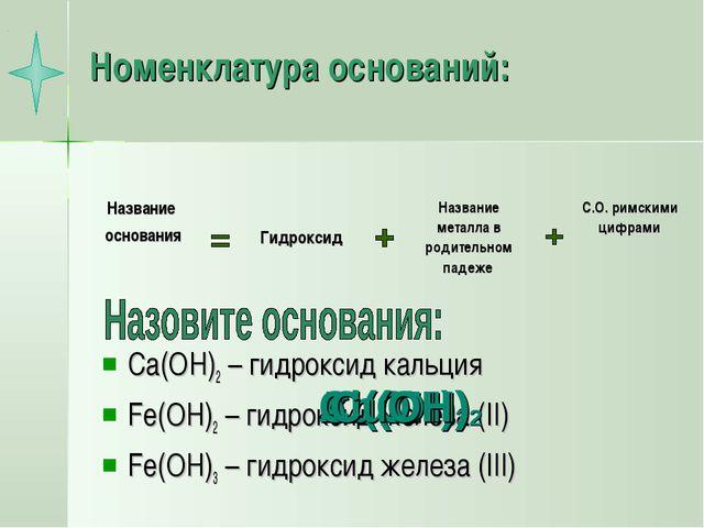 Номенклатура оснований: Ca(OH)2 – гидроксид кальция Fe(OH)2 – гидроксид желез...