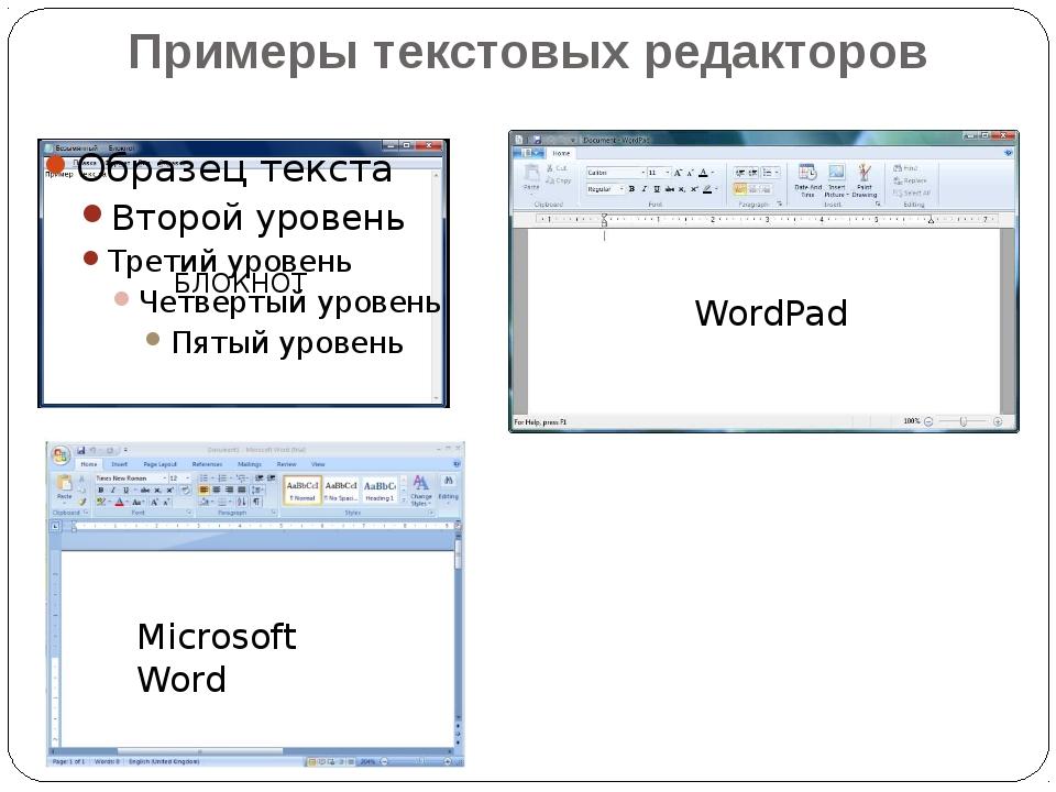 Примеры текстовых редакторов БЛОКНОТ Microsoft Word WordPad