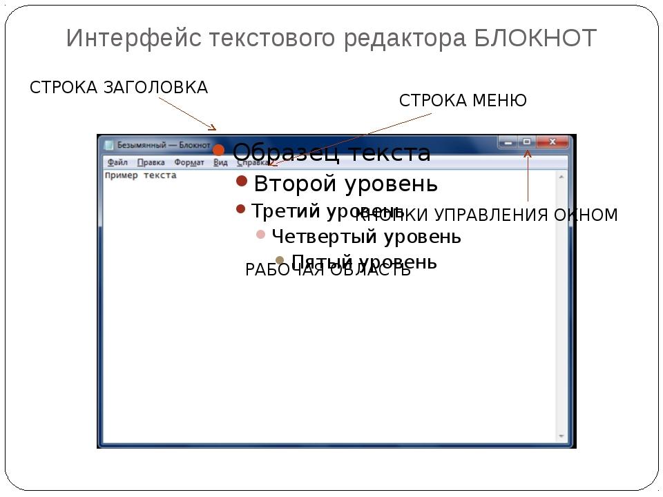 Интерфейс текстового редактора БЛОКНОТ РАБОЧАЯ ОБЛАСТЬ СТРОКА ЗАГОЛОВКА СТРОК...