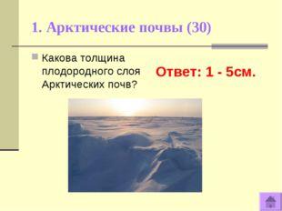 1. Арктические почвы (30) Ответ: 1 - 5см. Какова толщина плодородного слоя Ар