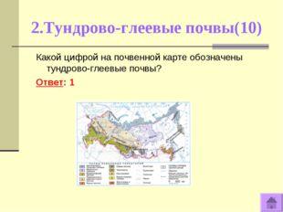 2.Тундрово-глеевые почвы(10) Какой цифрой на почвенной карте обозначены тундр