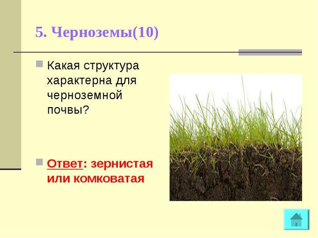 5. Черноземы(10) Какая структура характерна для черноземной почвы? Ответ: зер...