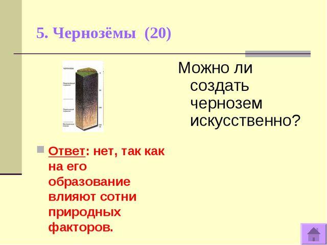 5. Чернозёмы (20) Ответ: нет, так как на его образование влияют сотни природн...