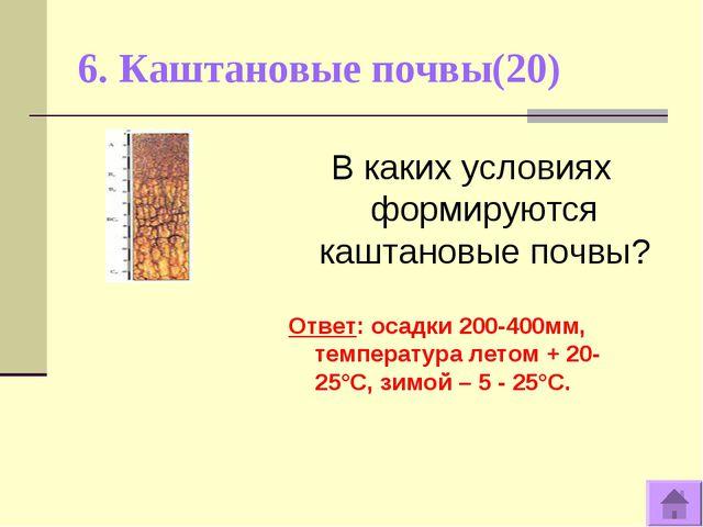 6. Каштановые почвы(20) В каких условиях формируются каштановые почвы? Ответ:...