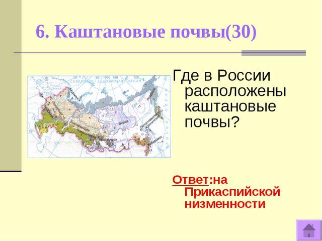 6. Каштановые почвы(30) Где в России расположены каштановые почвы? Ответ:на П...