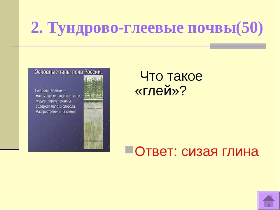 2. Тундрово-глеевые почвы(50) Что такое «глей»? Ответ: сизая глина