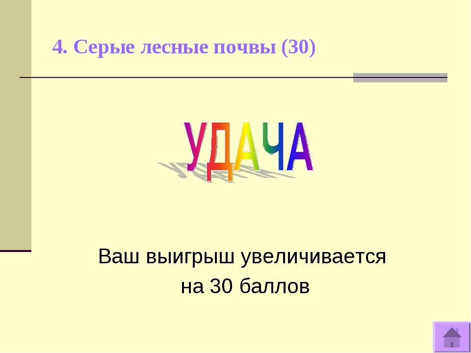4. Серые лесные почвы (30) Ваш выигрыш увеличивается на 30 баллов