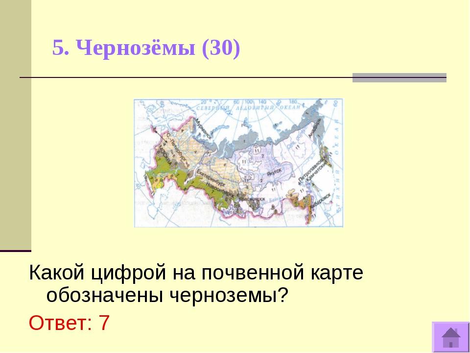 5. Чернозёмы (30) Какой цифрой на почвенной карте обозначены черноземы? Ответ...