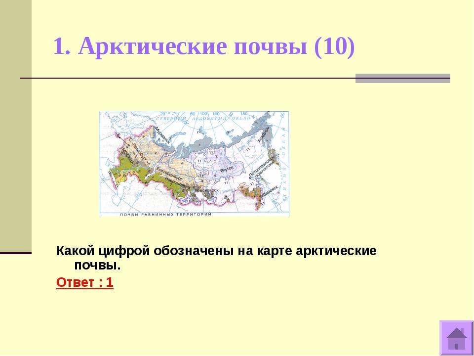 1. Арктические почвы (10) Какой цифрой обозначены на карте арктические почвы....