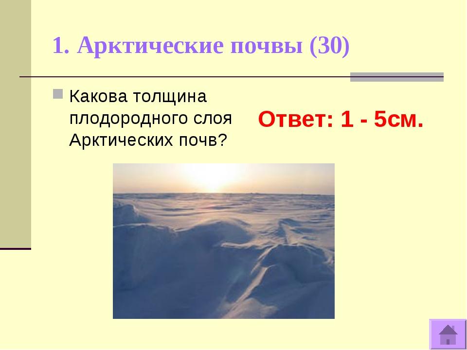 1. Арктические почвы (30) Ответ: 1 - 5см. Какова толщина плодородного слоя Ар...
